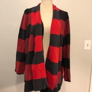 ModCloth Red & black buffalo plaid cardigan
